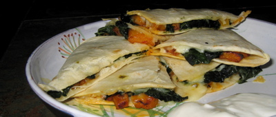 Chipotle Squash and Kale Quesadilla