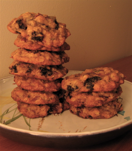 Gooey Chocolate Cherry Mint and Oatmeal Cookies