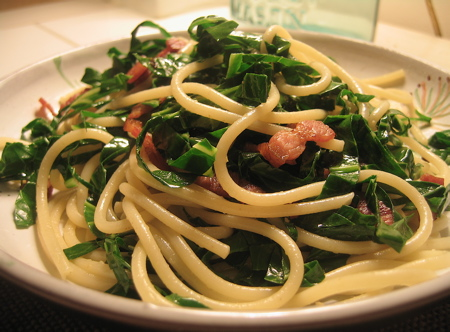Collard Greens with Spaghetti