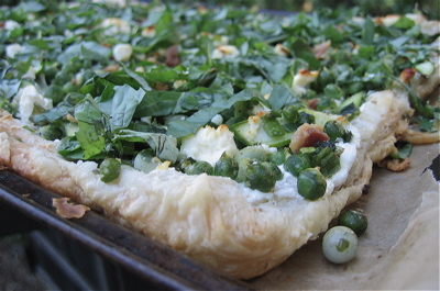 Springtime Vegetable Tart with Peas, Asparagus, and Basil