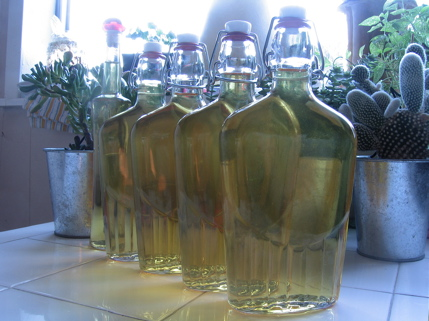 Bottles of homemade limoncello