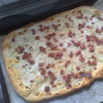 Flammkuchen (Onion, Bacon, and Creme Fraiche Tart)