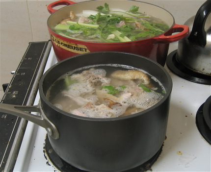 Pots of turkey stock